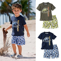 beach boys clothing - 1 Sets Baby Kids Clothing Pure Cotton Cartoon Dinosaur Short Sleeve T shirt Beach Shorts Pants Boys Casual Set Children Suit