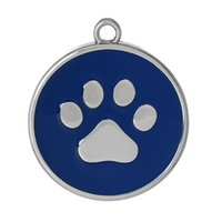 bear paw pattern - Charm Pendants Round Silver Tone Dark blue Bear paw Pattern Enamel mm quot x mm quot new