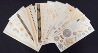 Wholesale Mixed Design Flash Tattoo Metallic Temporary tattoos Stickers gold silver DIY Waterproof Body Art more styles cm