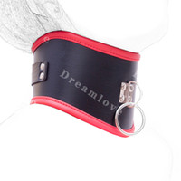 posture collar - Black and Red Leather Locking Bondage Posture Collar Mistress Fetish Kinky Costume Queen of sex games