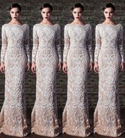 Wholesale Little Pink Underwear - Zuhiar Murad Gorgeous Embroidery Lace Bead Long Sleeve Formal Evening Dresses Nude Underwear Sheath Sexy Party Prom Dress Gowns Plus Size