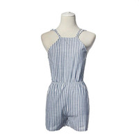 Wholesale w1025 Best seller Brand Casual Stripe Clubwear Halter Backless Playsuit Party Jumpsuit Romper Trousers