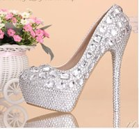 Cheap Cheap!! Luxurious Crystal Bridal Shoes 11cm High Heel Wedding Shoes Fashion Rhinestones Woman Prom Formal Shoes US Size 4-9