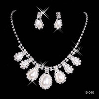 accessories studs - 2015 Bridal Jewelry Wedding Bridal Rhinestone Accessories Necklace and Earring Ear Stud Style Sets Silver Plated Simulated pearl