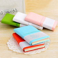 color cover notebook - Candy color Mini smile diary leather cover portable Notebook notepad diary Note pads Travel Daily tickler busy book Stationery
