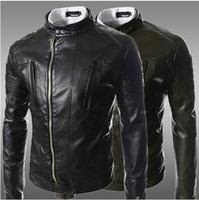 Cheap Fall 2014 fashion oblique zipper placket short paragraph Slim leather men casual collar washing machine wagon jacket black