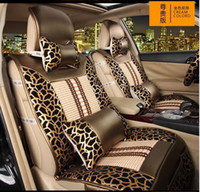 auto leather seat - sexy leopard print four seasons car seat covers set golden black fashion auto front rear seats cover set full set