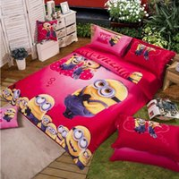 Wholesale 6set cotton Bedding set cartoon Printing Minions bedclothes Baby children kids bed linen king queen twin full duvet cover set BFH314
