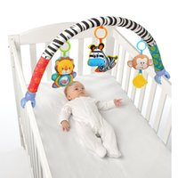 Wholesale Stripe Animal Nowborn Baby bed stroller car clip lathe hanging Rattle Bell Animal plush toy Seat Take Along Travel Plush Bell Animal Toy