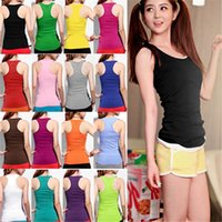 Wholesale Best Match Women s Ladies Summer Sexy Racerback Tight Tank Top Vest Top Fitted Sleeveless Scoopneck Cotton Blended Shirt ax2