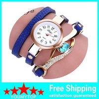 analog electronics - 100pcs Duoya Brand Eye Gemstone Luxury Gold Women Bracelet Watch Dress Female PU Leather Electronic Quartz Wristwatch XR1856