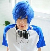 Wholesale Lastest Very Soft Blue Mix Male Wig Cosplay Vocaloid Kaito Wigs New Hair