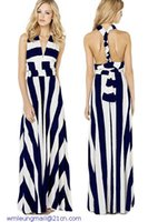 Cheap dear-lover roupas femininas vestidos Versatile Straps Navy White Stripe Maxi boho Dress printed LC6700