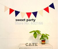 Wholesale fabric bunting white red blue pennant party banner garland party decoration party supplies home decoration