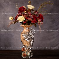 Wholesale 2016 European retro style decoration flower Resin crafts desk top landing creative flower vase home decorative ornament