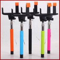 Wholesale NEW Take Pole Selfie Stick Extendable Monopod with Tripod Handheld Wired usb cable for iPhone s plus Android Smart Phone box Z07 Cable