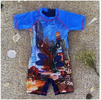 babies bathing suits - 5 BBA4724 Kids SpiderMan Swimwear Cartoon Printed One piece suit cars Cartoon swimsuit Boys Bathing Costume baby Swimming Clothing swimwear