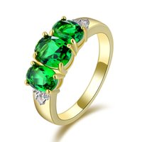 Middle Eastern emerald ring - Suohuan Jewellry sale Luxury Size Emerald Fashion Engagement Bridal K Gold Filled AAA Rings For Womens Anniversary R009YGE
