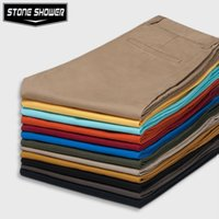 100% Cotton 100% cotton plus size - High Quality Summer Casual Cotton Slim Straight Cheap Mens Pants Chino Pants Chinos Men Trousers YS14C155