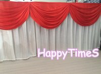 Wholesale 5pcs Beautiful Wedding Table Decorations White Table Skirt With Red Swags And Metal Clips Party Favors