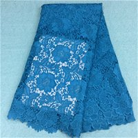 beautiful cloths - Beautiful african water soluble lace fabric with blue flower embroidery french guipure lace cloth for dress BW68 yards pc