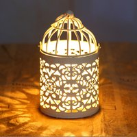 Wholesale zakka White Bird Cage Decoration Candle Holders Metal Iron Candlestick Lantern Wedding Bird Cages Candelabra