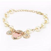 Cheap 2015 hot sale Korean style Heart flower letter D pendant bracelet Charm pulseira Beaded bracelets for women free shipping
