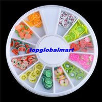 Cheap 100boxes(sets) 3D Mixed Fimo Clay Nail Art Tips Slice Acrylic Decoration Manicure Wheel Fruits Shape Nail Stickers Polish