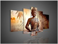 Cheap 5 Panel Wall Art Religion Budda Oil Painting On Canvas Modern Abstract Huge Bedroom