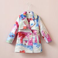 casual jacket - 2015 Autumn Children Coat Girl Cartoon Graffiti Style Jacket Girl Double breasted Coat Children Outwear Kids Tench Coats Color A119A6