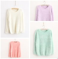 Wholesale Fashion Women s Ladies Crew Neck Pullover Jumper Casual Loose Long Mohair Sweater
