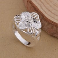 Wholesale Simple Flower Engagement Rings - HOT sale 925 sterling silver fashion gorgeous simple design NEW christmas gifts engagement wedding flower ring factory price jewelry