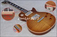 chinese guitars - Chinese guitar upgrade section s style Cream Binding No Wire style Bridge Tobacco Brown maple veneer LP Electric Guitar