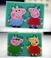 cupcake soap - 2pcs pig family silicone mould George pig baking tools for cakes fondant molds Bakeware cupcake soap mould cake toppers
