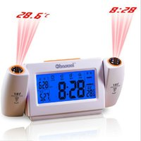 Wholesale Digital LED Dual Laser Snooze Dual Projection Alarm Clock Voice Controlled Temperature Time Christmas New Year gift
