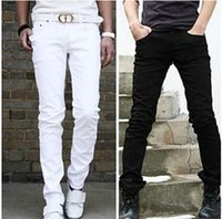 men color jeans - top quality Spring and summer white male man jeans slim straight light color men trousers fashion man trousers