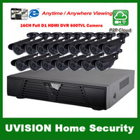 Wholesale HDMI ch full D1 DVR Kit CCTV System TVL Waterproof IR outdoor Cameras ch Security Camera system m cctv cable