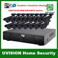 al por mayor sistema de cctv 16-Sistema completo del CCTV del kit de HDMI 16ch D1 DVR 16pcs 600TVL impermeabilizan el sistema al aire libre de las cámaras de seguridad 16ch de las cámaras de seguridad 16pcs 18m cable del cctv
