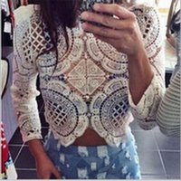 Wholesale New Fashion Women Casual shirt Long Sleeve Crop Top O Neck Perspective Hollow Out Lace Blouse Top Summer