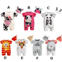 newborn clothes - Panda lion tiger cow cartoon animal cute babies onesies newborn baby rompers infant one piece clothing kids jumpers with cap top quality
