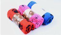 Wholesale Hot Sale Soft Cozy Paw Prints Handcrafted Pet Fleece Blanket Brand New cm