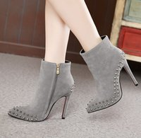 b m trading - 2015 British foreign trade in autumn and winter wind boots heels boots shoes with a fine pointed Martin shoe Rivet Boots