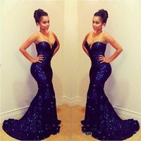 Wholesale Sparkling Sequined Mermaid Evening Dresses Long Deep Blue Prom Dresses Sweetheart Off Shoulder Sleeveless Sexy Formal Prom Gowns Plus Size