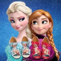 Wholesale 2015 Hot Sales Frozen Elsa Anna kids summer shoes baby shoes Size Girls Frozen Sandals Match Frozen Dress pairs