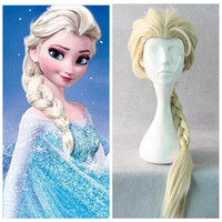 Wholesale 2015 Movie Elsa Cosplay Wigs Halloween Hair Accessories Prodcts Wig New Arrive Hot Sale Cheap Modest Anime Wigs Light Yellow CM Long Braid