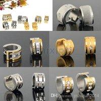 Wholesale 2014 New Silver Gold Stainless Steel Crystal Earrings Hoop Huggie Charm Ear Studs pairs
