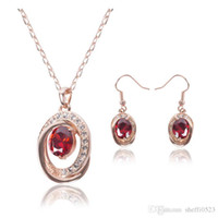 Wholesale Newest Model Bride Jewelry Sets Ruby Necklace Earrings Sets High Quality kgp Jewelry Set For Women CAL11040I