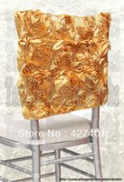 chiavari chair - Gold Satin Rosette Chiavari Chair Hoods Chair Caps Wrap Tie Back Chair Sash For Wedding Event Party Banquet Decoration