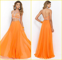Wholesale Two Pieces Set Orange Long Prom Dresses Sexy Halter Backless A Line Chiffon Floor Length Beaded Cheap Custom Made Prom Party Dress Gown