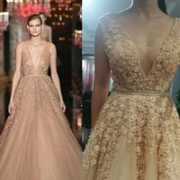 peplum - Elie Saab Dresses Evening Wear Sexy Tulle Backless Evening Gown Beaded Tiered Peplum Pearls Quinceanera Dresses